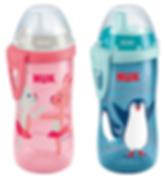 Behrendt Graphic Design bottle illustration dancing bunnies and penguins for NUK