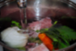 Adding Water to Ingredients to Create Broth; Pasta Rasa in Brodo Recipe, Reggio Emilia, Italy