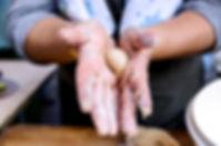 rolling the manaeesh dough into balls, manaeesh recipe, beirut, lebanon
