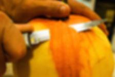 Peelin the pumpkin's skin, carmelized pumpkin recipe, Lebanon
