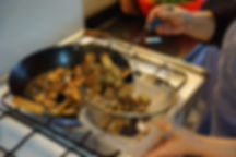 draining the fried eggplant of oil, eggplant yogurt lebanese recipe, the recipe hunters in lebanon