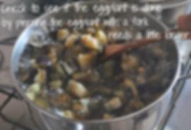 Stirring the Boiling Eggplant - Marietta's Calabrese Braciole di Melanzane Recipe Photos