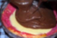 Adding the chocolate layer of custard, Italian Zuppa Inglese Recipe