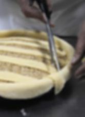 Snipping overhanging dough strips, Ana's Imotska Torta Recipe