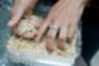 caking the cookies in almond flour, Soumaya's Louzina, Lebanese cookie recipe