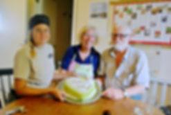 Helge and Marianne Berglund with Josefine's Prinsesstårta at Berglunds Bageri, Sweden