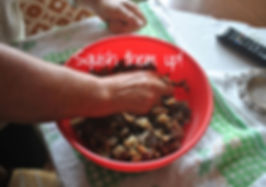 Squishing Eggplant with hands- Marietta's Calabrese Braciole di Melanzane Recipe Photos
