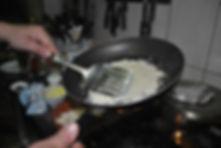 Frying Parmesan, Ante's White Scampi Risotto Recipe, Konoba Lukin, Brač, Croatia