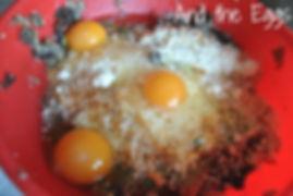 Adding eggs - Marietta's Calabrese Braciole di Melanzane Recipe
