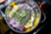 Cuttlefish and Ingredients for Forgotten Cuttlefish Recipe, Konoba Lukin, Supetar, Croatia