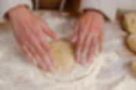 forming the dough into a disc, manaeesh recipe, beirut, lebanon