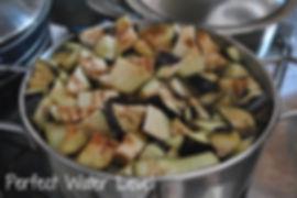 Cubed Eggplant in boiling water - Marietta's Calabrese Braciole di Melanzane Recipe Photos