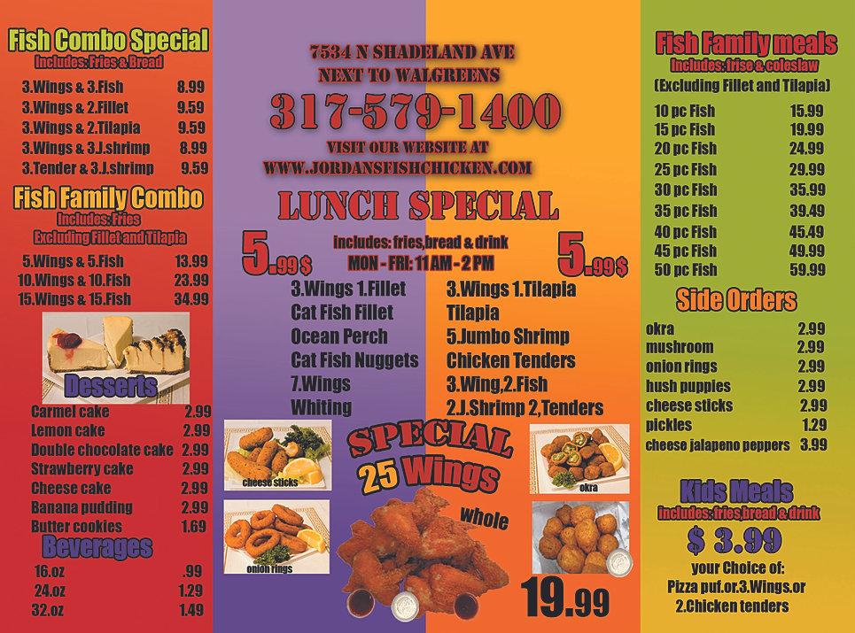 Jordansfishchicken menu for Fish and chicken menu