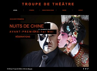 Théâtre Template - Faites-vous connaitre avec ce template de site web théâtral! C'est le lieu idéal pour promouvoir vos pièces, présenter vos comédiens et partager vos photos de scène avec votre public. Créez un site web accrocheur et lancez votre compagnie de théâtre sur le Web !