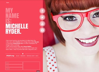 Personal Page Template - A stylish one-page theme featuring vibrant colors and chic design. The perfect online business card, this template lets you gather your social media profiles, websites, and blog into a single location. Upload your own images and customize the color to express your personality.
