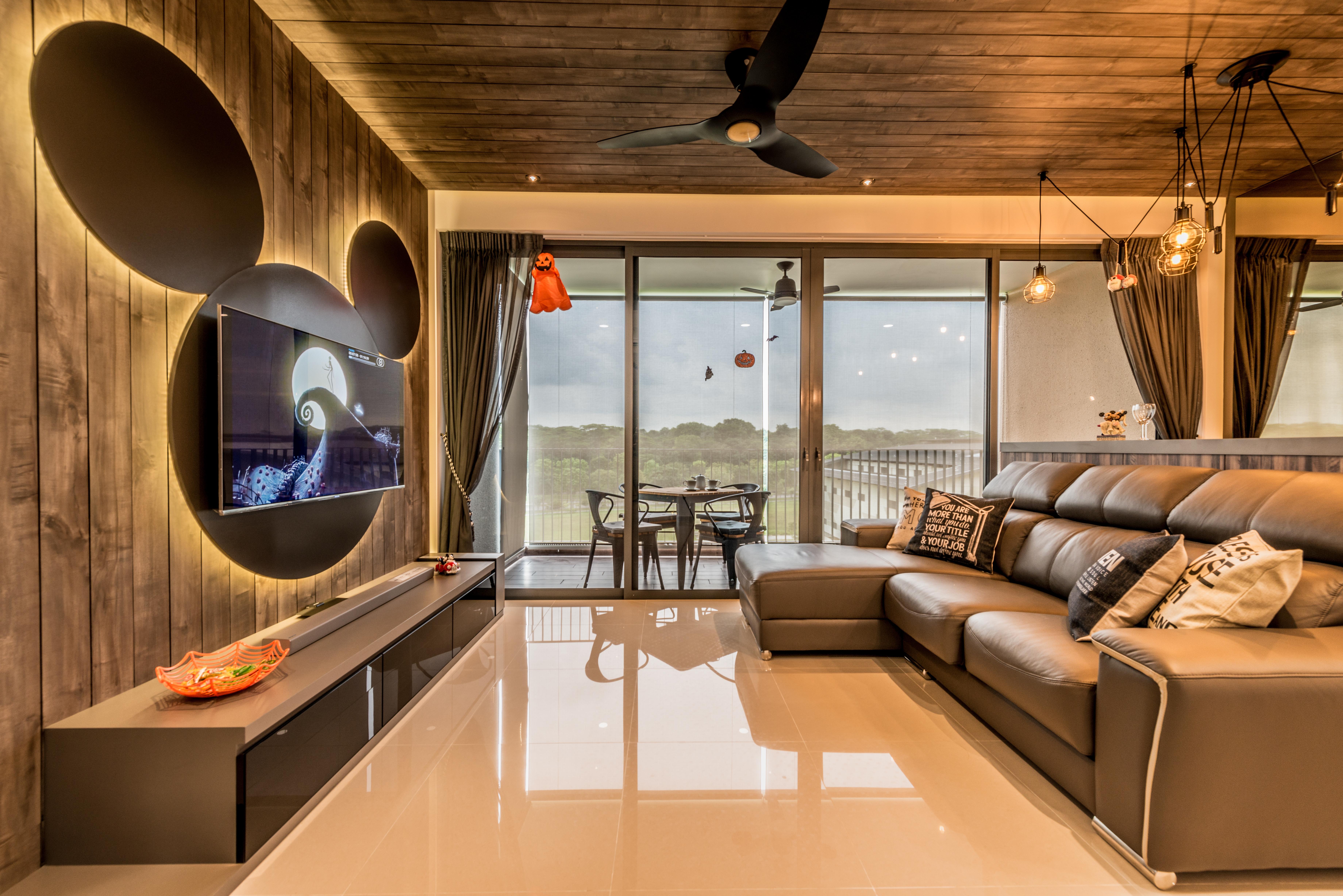 Punggol brooke water way hdb 5 room renovation - Mr Shopper Studio Mickey Disney Theme Living Apartment