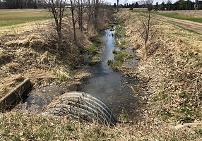 culvert crossing and watercourse expected to receive stormwater runoff
