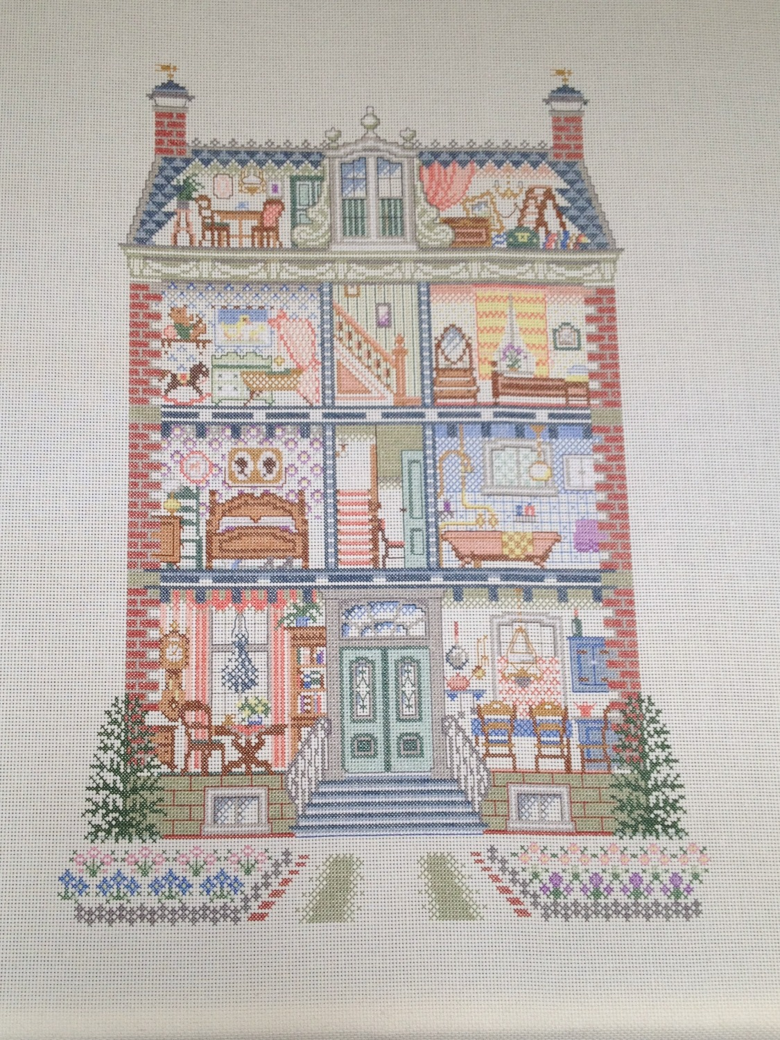 cross stitch Pako dolls house