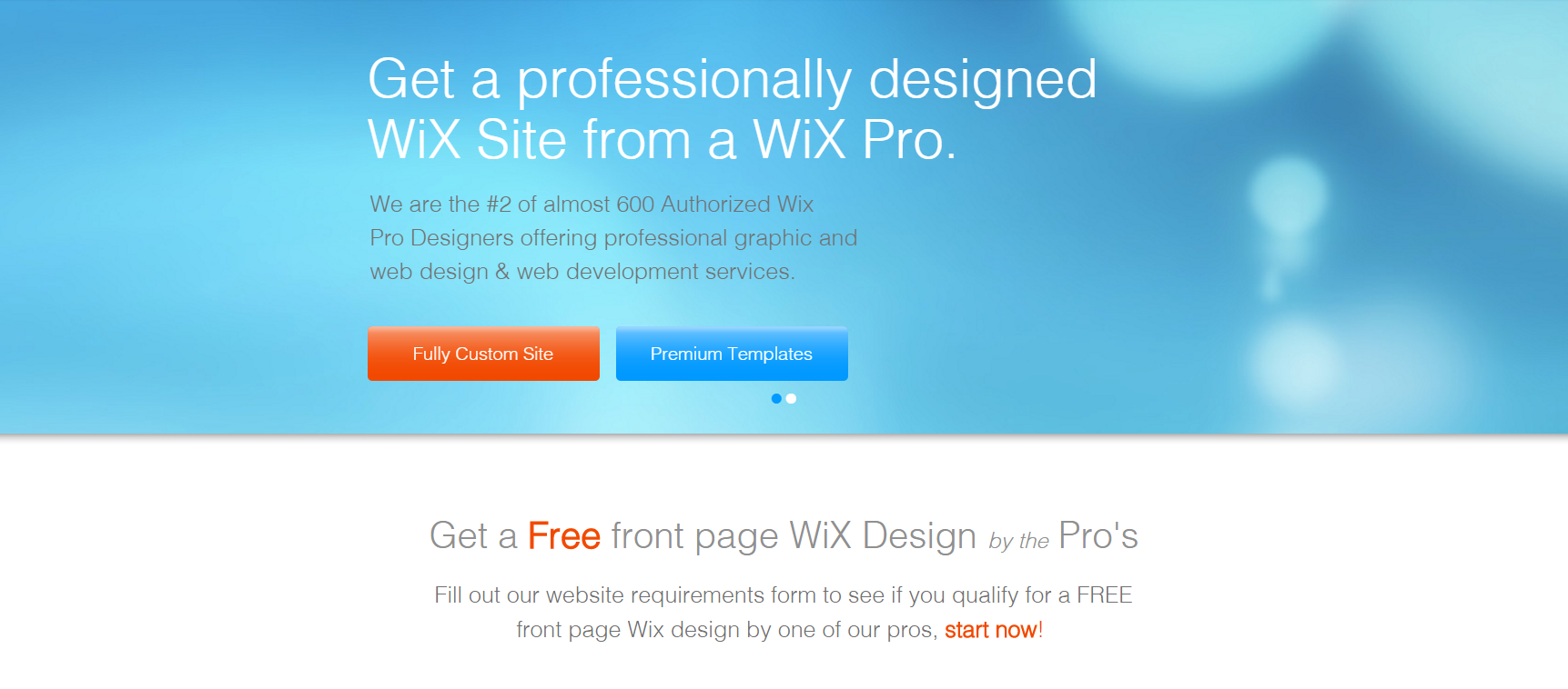 Wix Pro Designers Get A Professional Front Page Design For Free