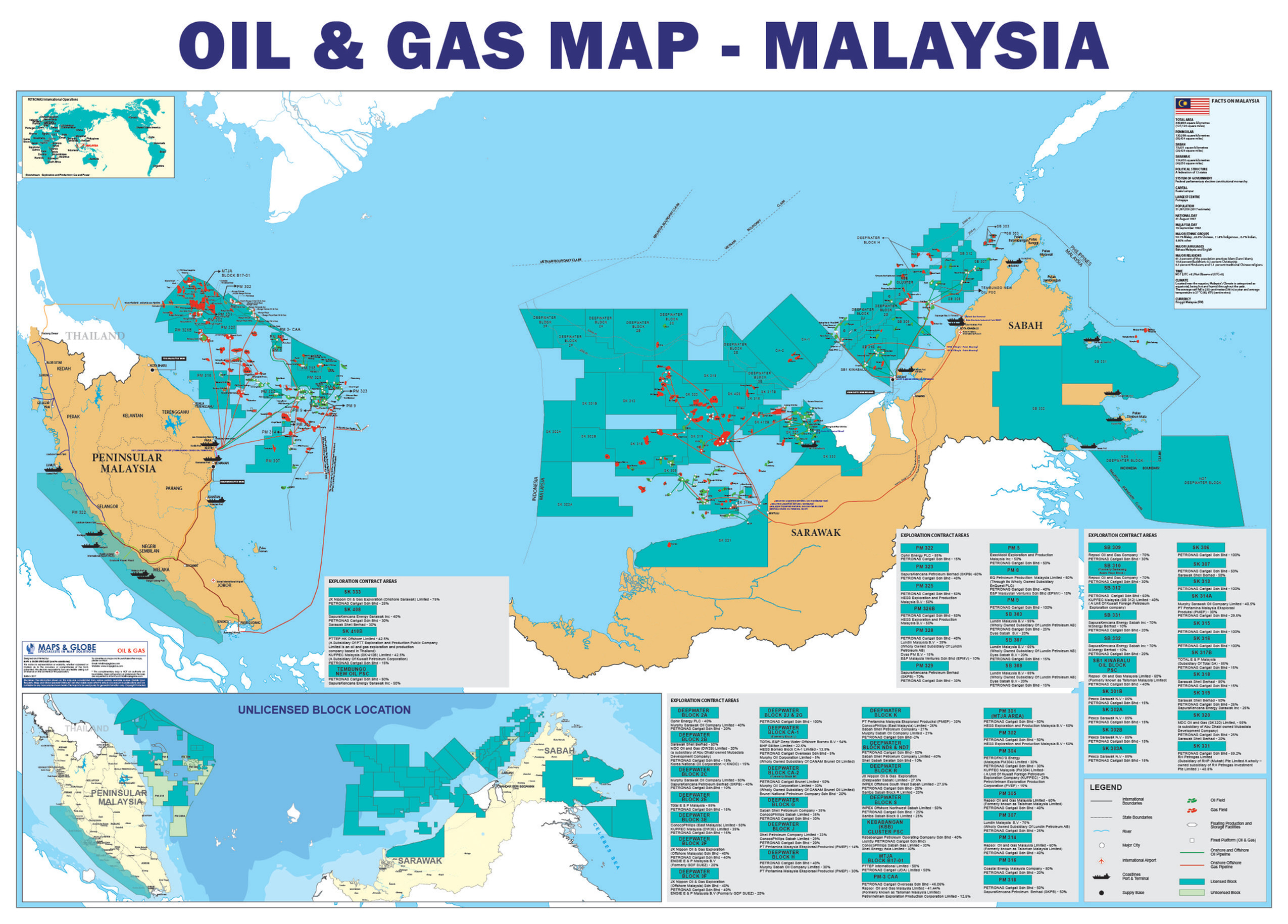 Maps Globe Specialist Oil and Gas Map Malaysia