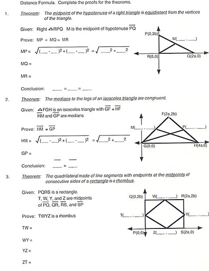 Worksheets Coordinate Geometry Distance Formula Worksheet geometry coordinate proof distance formula free worksheet to help students use the demonstrate algebraic proofs of theorems
