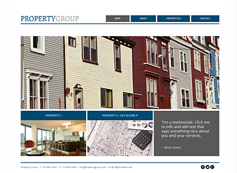 Property Group Template - A polished and professional theme ready to promote your real estate company. Customize the text to highlight your professional experience and upload images to show off your properties. Take your business to the next level with a custom-made website.