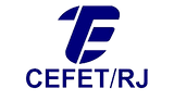 Logotipo do CEFET/RJ, texto em azul e logomarca em azul