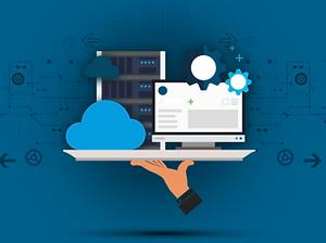 Ilustração representando serviços de infraesturura em nuvem, consiste em uma mão segurando uma bandeja sob ilustrações de dispositivos tecnilógicos