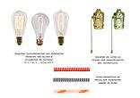 Lâmpadas, cabos e soquetes
