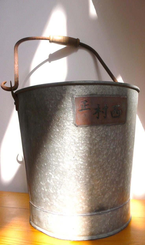 Balde japonês antigo com inscrições