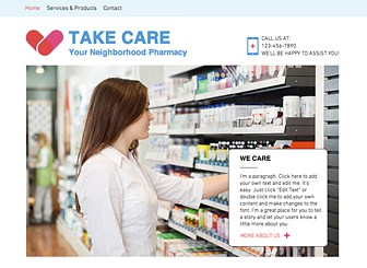 Pharmacy Template - A simple template for the pharmacy you can rely on. Create your online home with photos, maps, and texts; reach out to community members and publicize your services with this fully-customizable format. Get online and increase your business today!