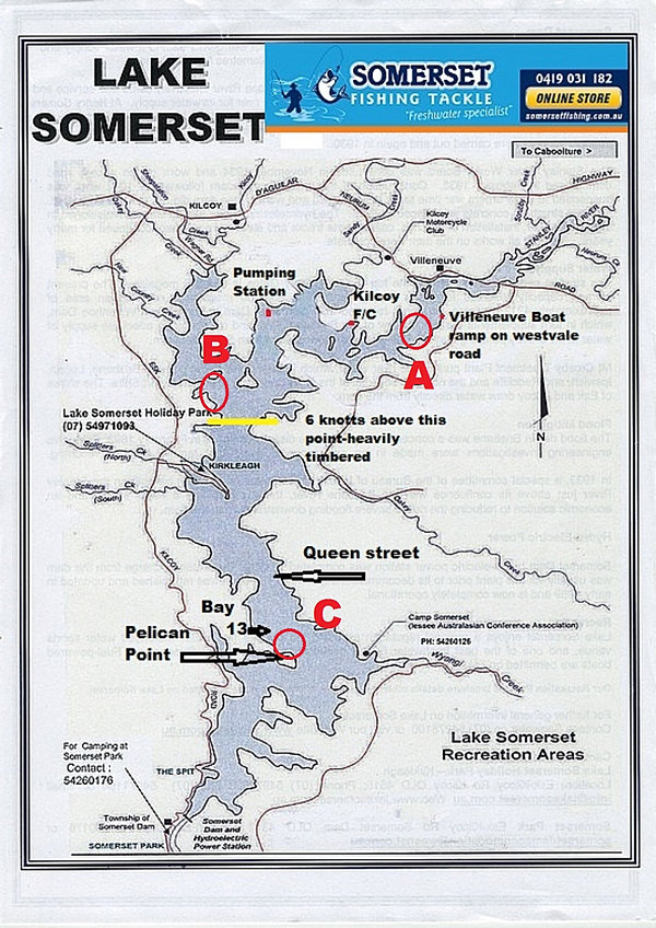 Somerset dam fishing report with map for Good fishing spots near me