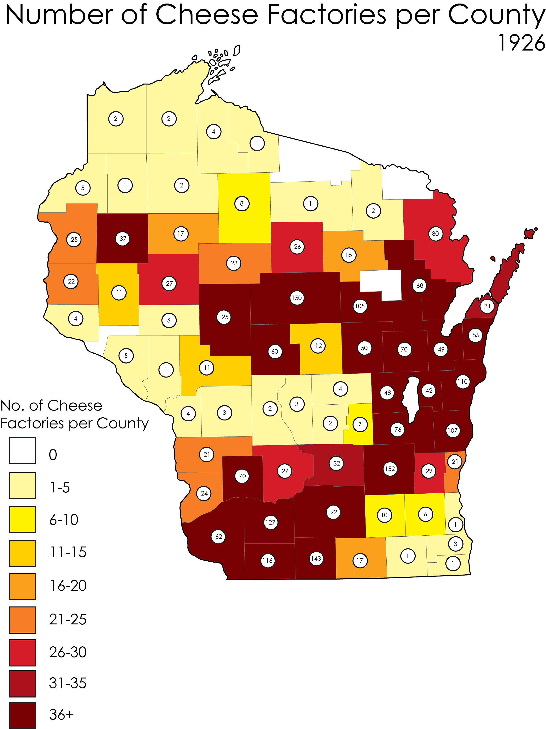 Wisconsin Cheese Factories And Their History Map 7 1926