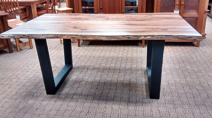 Abbington Live Edge Dining Table|Walnut Live Edge Industrial Style Table  With Metal Base|