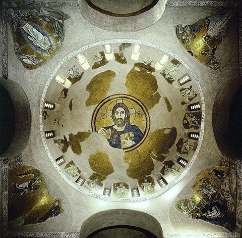 Monastery at Daphni dome mosaic