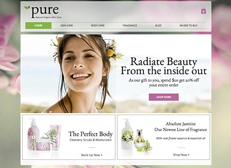 Skincare Line Template - Natural colors and a floral background make this a perfect template for your line of organic skincare products. Tell the story of your brand, showcase your goods in multiple galleries, and direct customers to your outlets. Start editing to build your online presence!