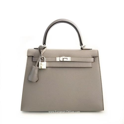 Hermès Kelly Bag 25 Ier Epsom Leather Gris Asphalte Color Phw