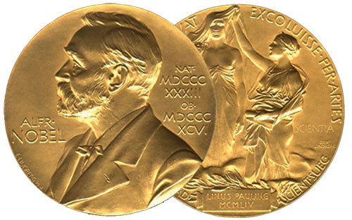 Nobel Prize medal; image from Discover Magazine.