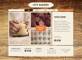 City Bakery Template - Whet your appetite with this warm template perfect for bakeries and cafes. Easy to customize, just change the background image, photos and texts to make the template your own. Tantalize your customers with the easy-to-use menu feature. Click now and begin editing!