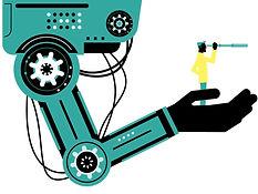 engineer-with-handheld-telescope-on-robo