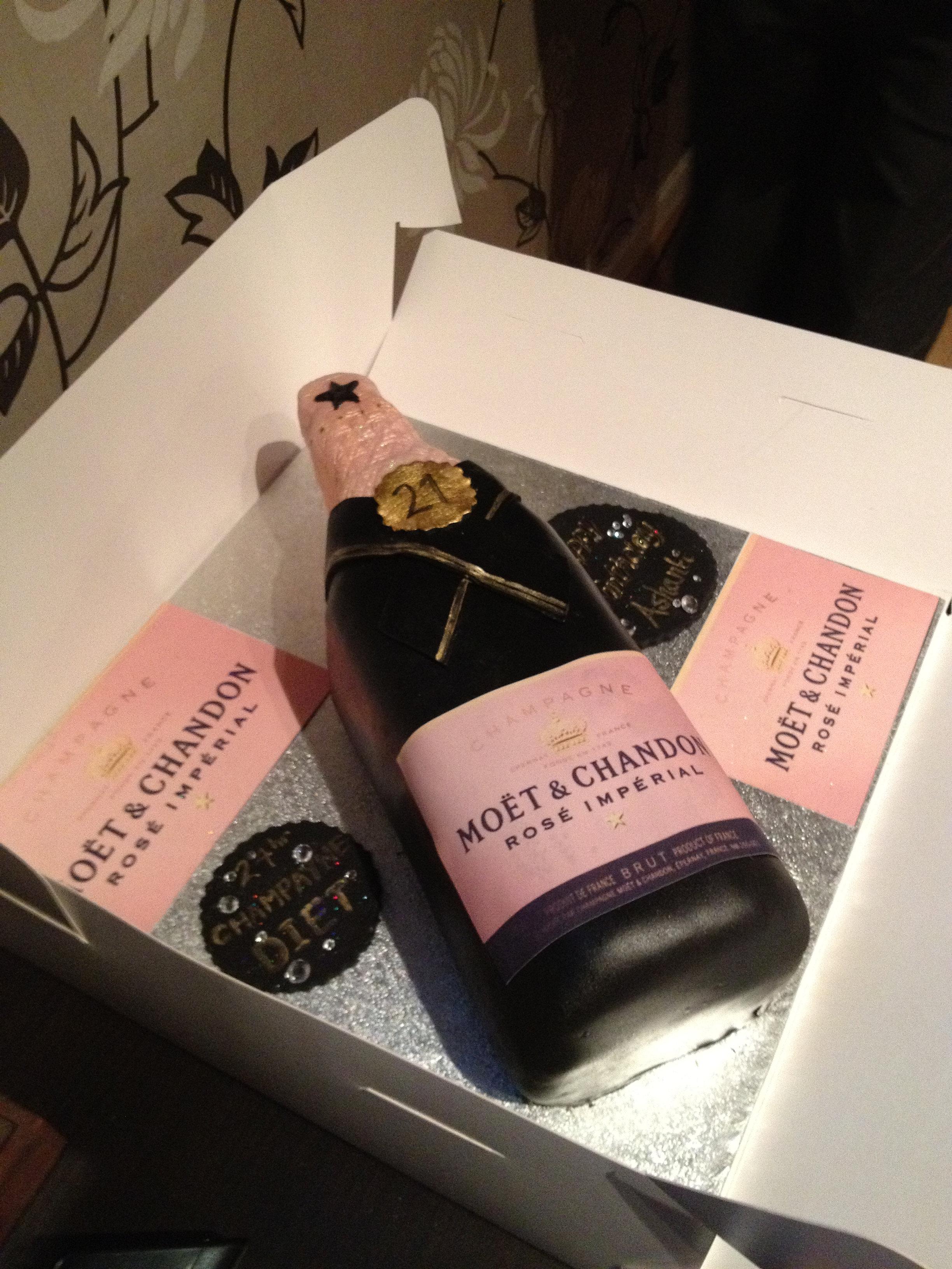 Pink Champagne Bottle Cake