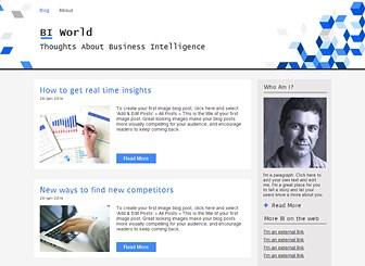 Business Intelligence Blog Template - A great template for BI specialists wishing to blog about the latest business intelligence luminaries and trends. This sleek BI blog template offers a fixed header feature so you can keep your brand and message in view at all times. There is also an