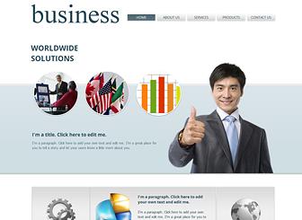 Business Management Template - Ce template de site web est le lieu idéal pour permettre à vos clients potentiels d'en savoir plus sur les services de votre compagnie, ses produits et ses tarifs. Téléchargez des images et personnalisez la couleur et la mise en page à l'image de votre entreprise. Commencez à le modifier dès aujourd'hui et prenez le contrôle de votre image professionnelle !