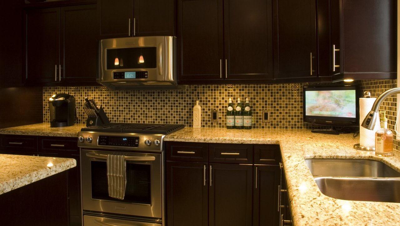Giallo ornamental dark granite - Giallo Ornamental Dark Countertops With Undermount Sink Jpg