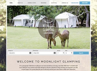 Camping Template - A chic website template ready to attract a glamorous crowd. With its natural, outdoor images and overall rustic feel, this is a great website template for any stylish outdoor rentals, including outdoor cabins, upscale campsites and caravan parks. Easy to customize, simply add your own images and personalize the text to reflect your business. Start editing now and watch as your accommodation gets booked up!
