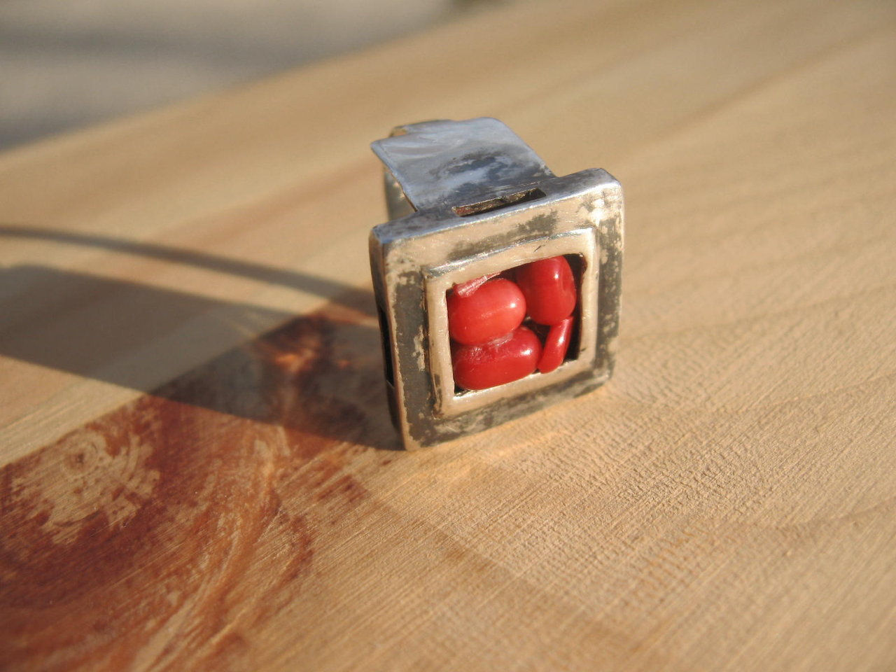 hollow square red stone ring