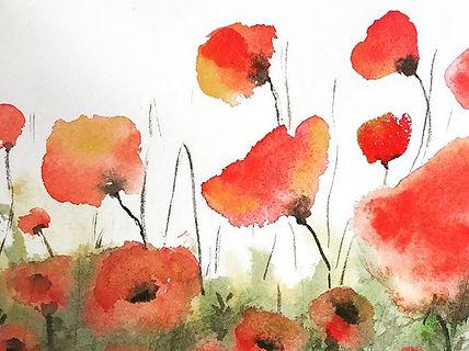 "Poppy Field III, 4""x6"" watercolour Throu"
