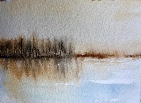 """''Solitude I"""" 3 1/2"""" x 5"""" watercolour #w"""