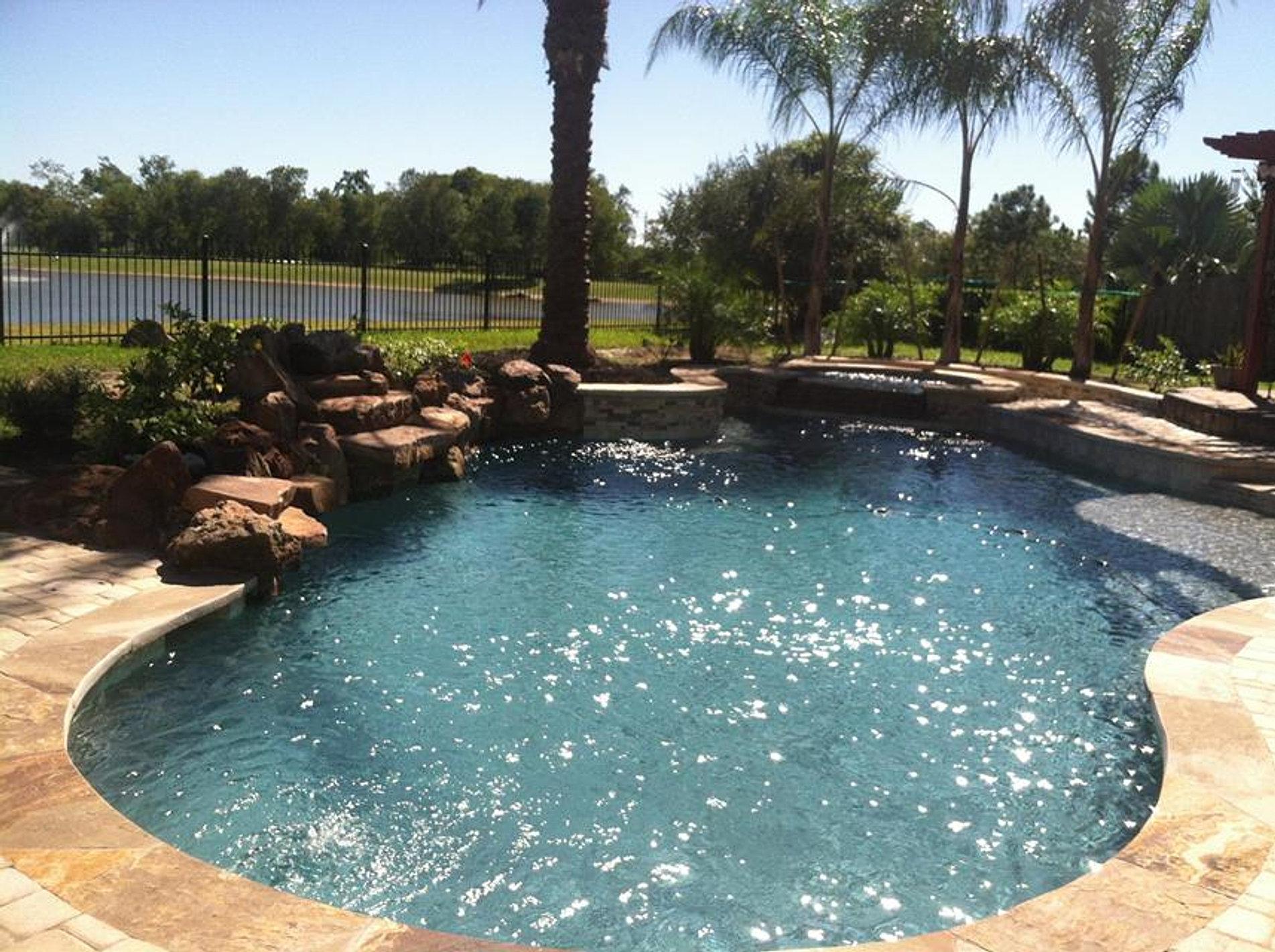 Houston Pool Builders Ocean Blue Pools Pebblesheen