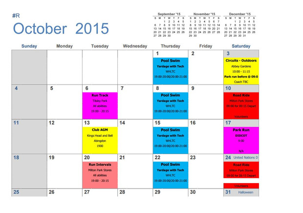 Winter training schedule now available | Abingdon and Vale ...